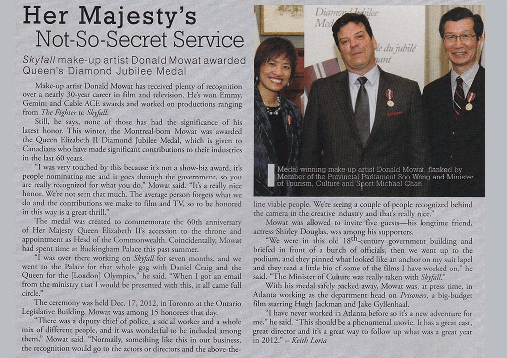 Donald Mowat awarded Queen Elizabeth II Diamond Jubilee Medal - Make Up Artist Magazine April 2013