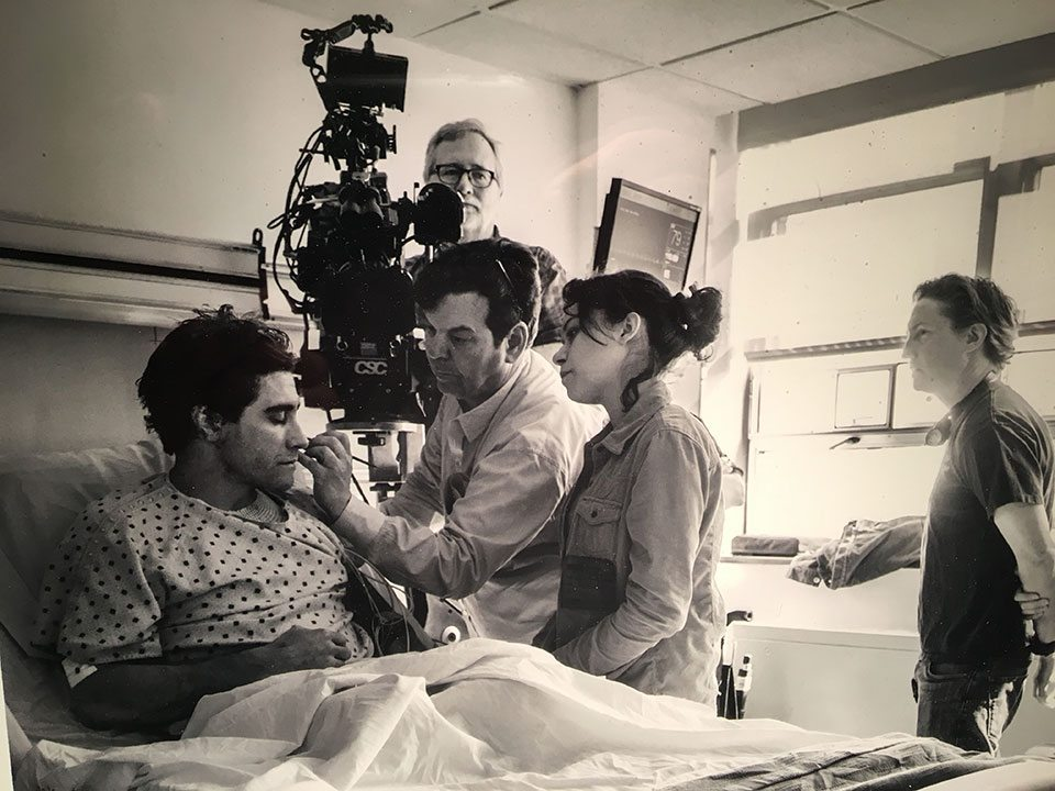 Donald Mowat on the set of Stronger with Jake Gyllenhaal and Tatiana Maslany