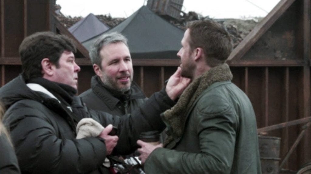 Donald Mowat on the set of Blade Runner 2049 with Denis Villeneuve and Ryan Gosling